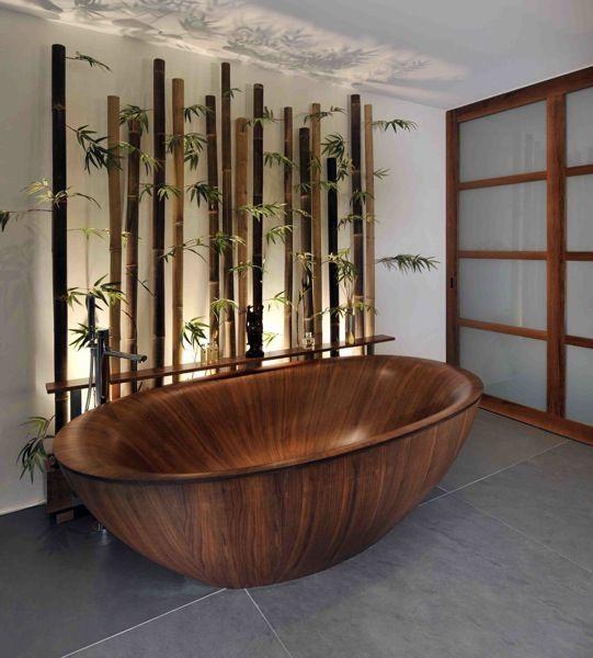 wooden bathtub in modern Japanese bedroom