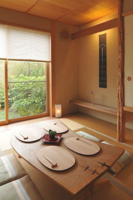 artistic wooden table in modern Japanese dining table