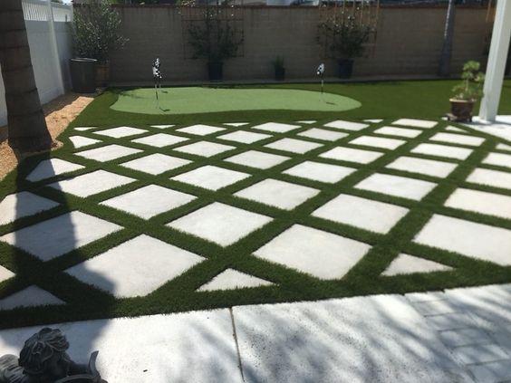 grass and concrete pavers idea