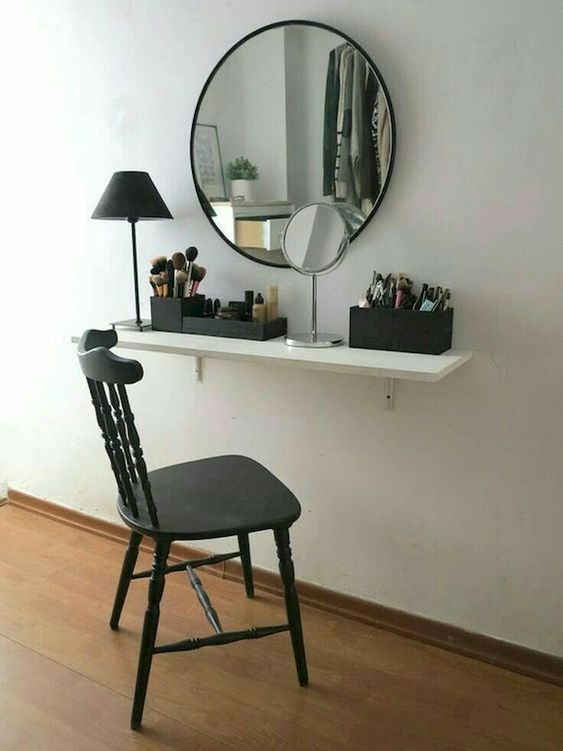 make up vanity floating shelf to save space in small bedroom