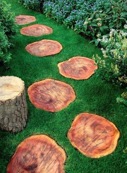 log walkways idea to beautify our garden