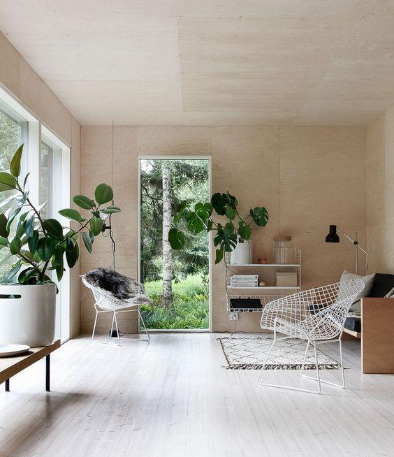 plants in Scandinavian home interior