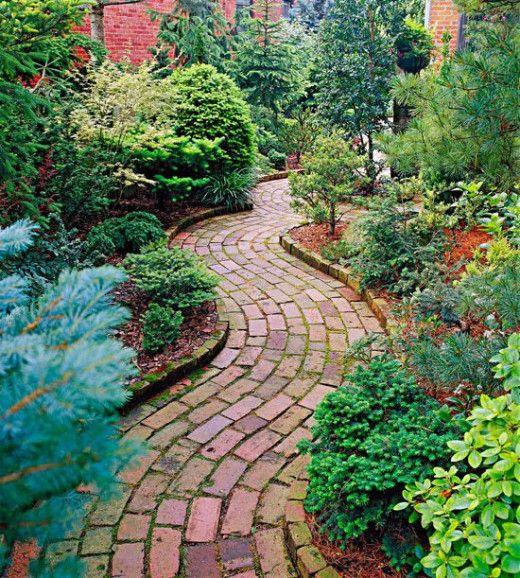 redbrick paver walkway idea to beautify garden