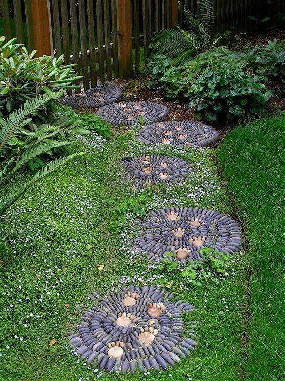 round pebble stepping stone idea