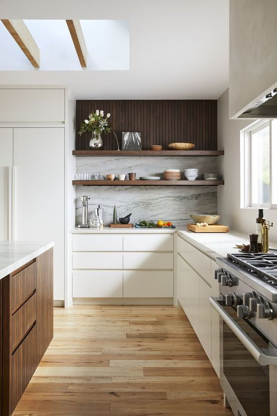 timber paneling in kitchen