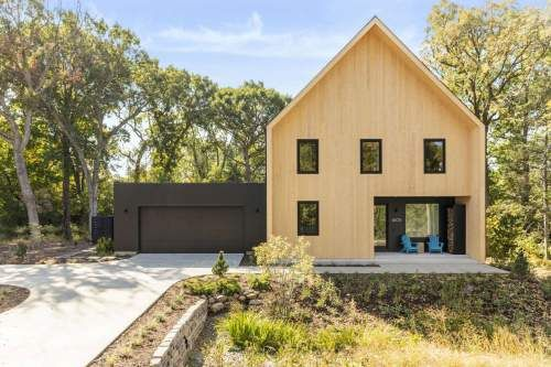 wood accent color tone for Scandinavian home exterior