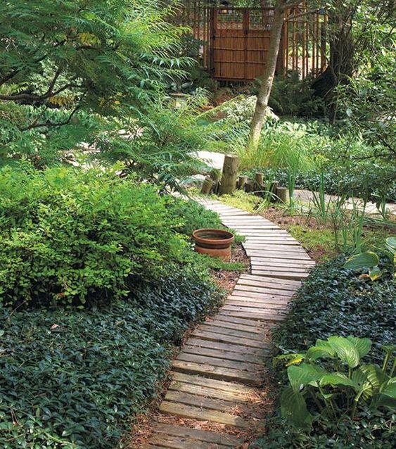 wood garden path idea