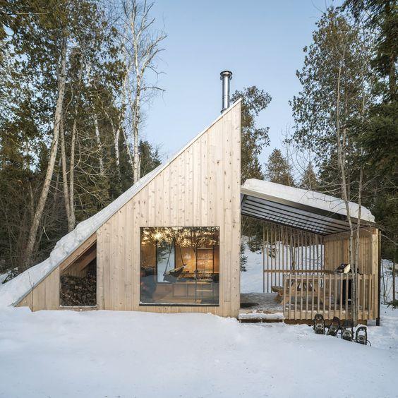 the subtle pinewood installation in Scandinavian style