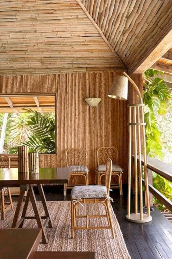 bamboo tropical dining style