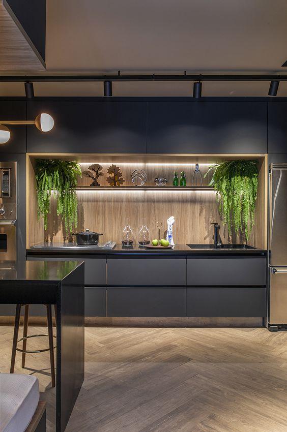 incorporate greeneries to the men's kitchen design