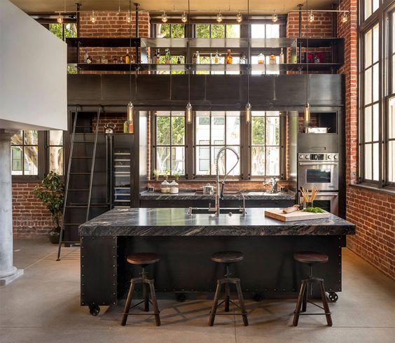 industrial brick wall in the masculine kitchen design