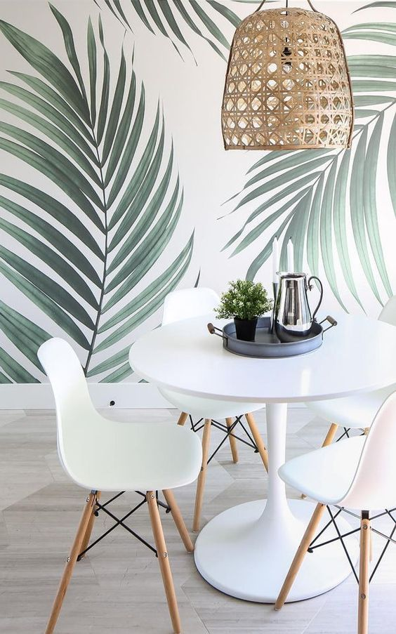 tropical wallpaper for dining area