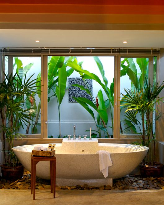 tropical backdrop bathroom design
