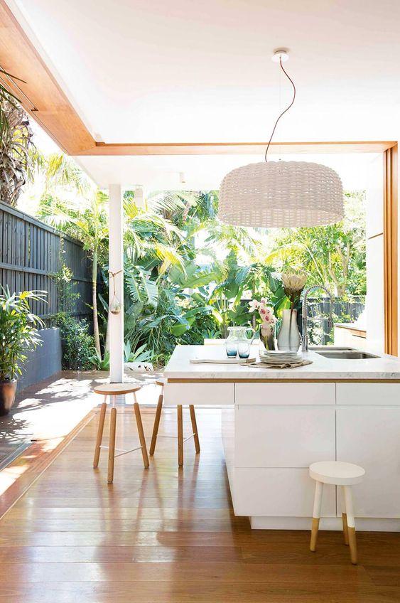 open plan design tropical kitchen