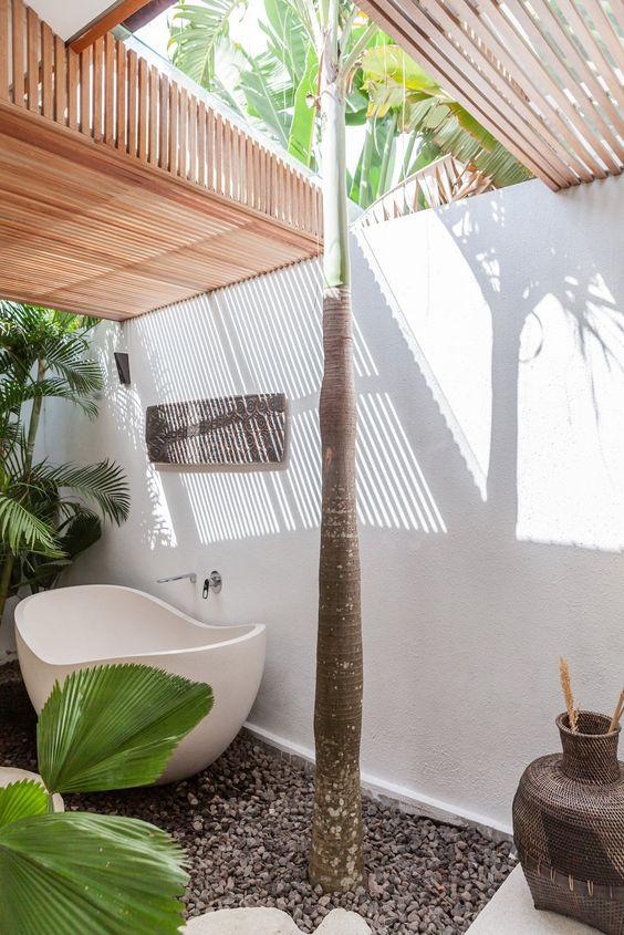 tropical outdoor bathroom
