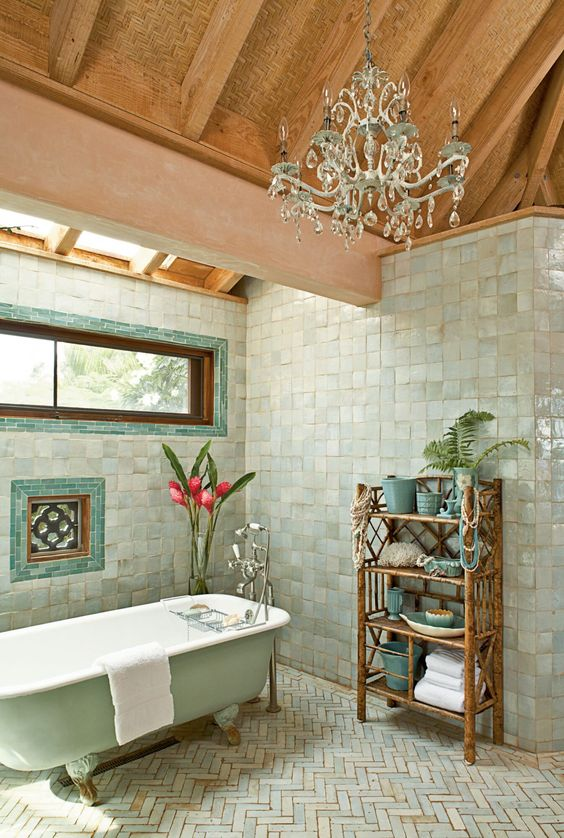 natural wooden ceiling for tropical bathroom idea