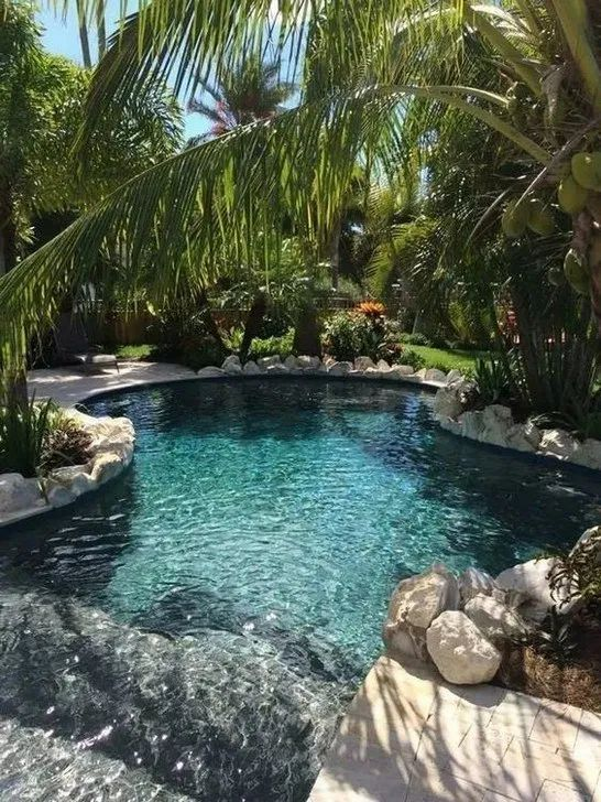tropical garden landscape with pool decoration