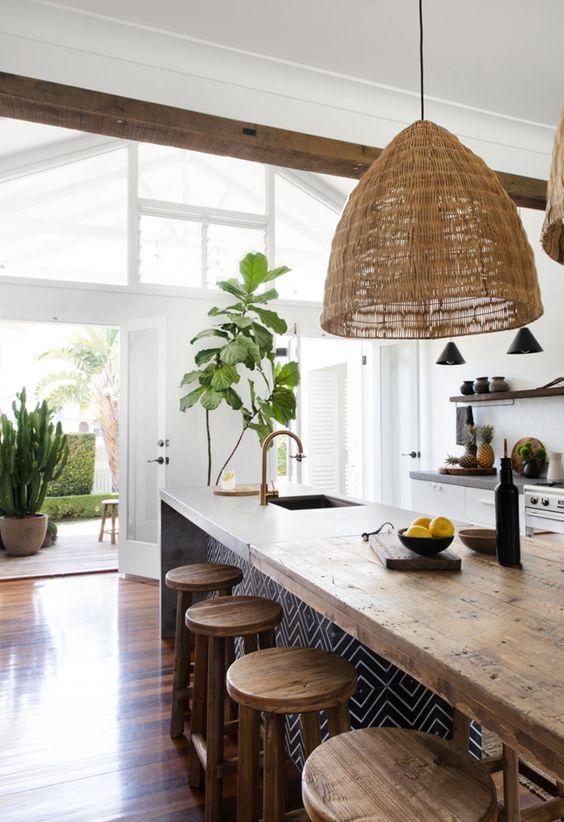 neutral tropical kitchen design