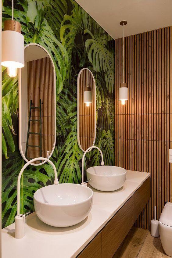tropical wallpaper for bathroom
