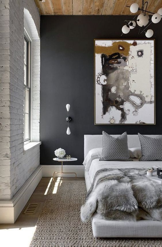 abstract wall decor ideas in the masculine bedroom decor