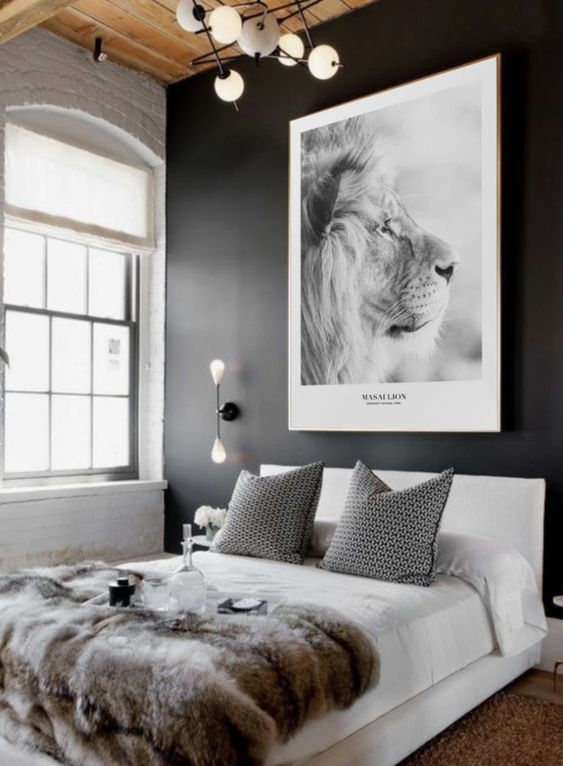 animal poster masculine bedroom wall decor ideas