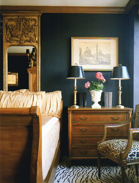 animal print rug in the masculine bedroom