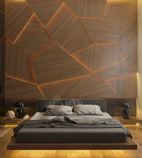 backlit wood accent wall for masculine bedroom style