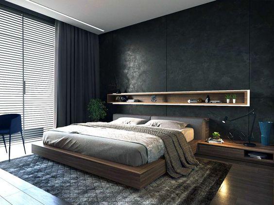 Black color palette for men's bedroom wall ideas