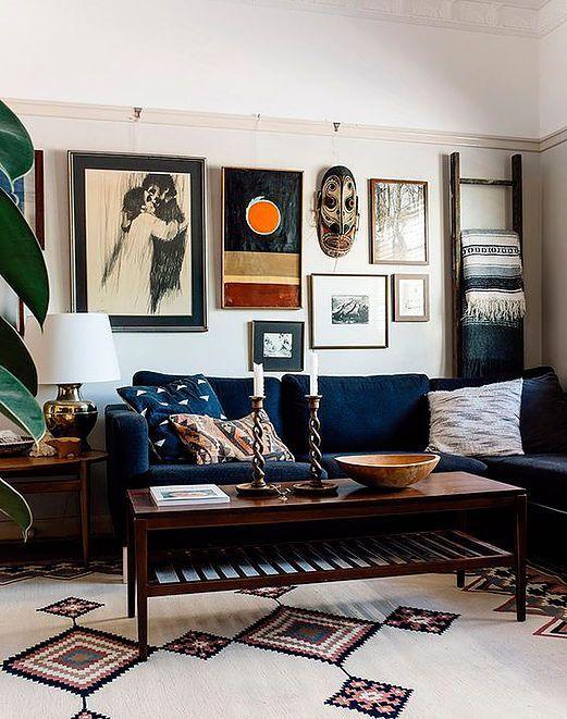 dark blue sofa masculine living room furniture