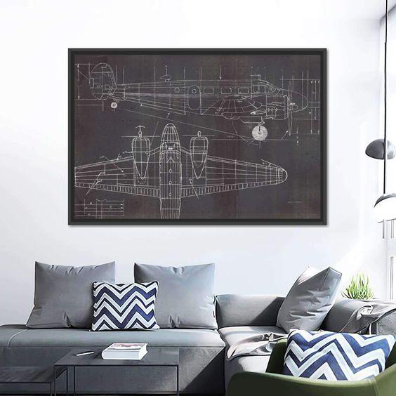 blueprint canvas wall art