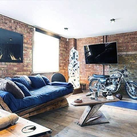 stylish bachelor pad with the extension of brick wall