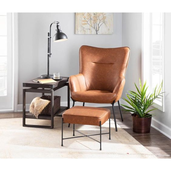 faux leather chair in masculine bedroom