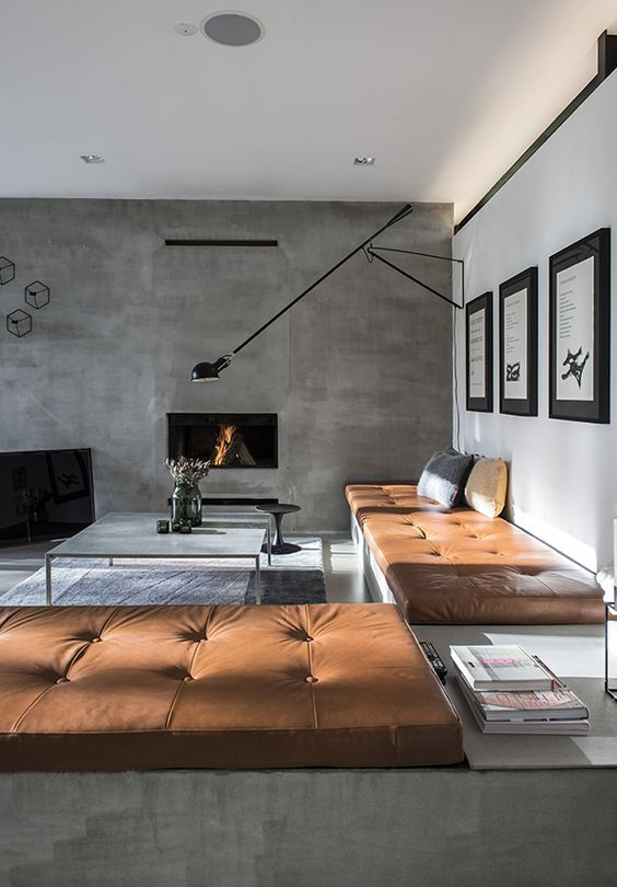 wall fireplace in masculine living room design