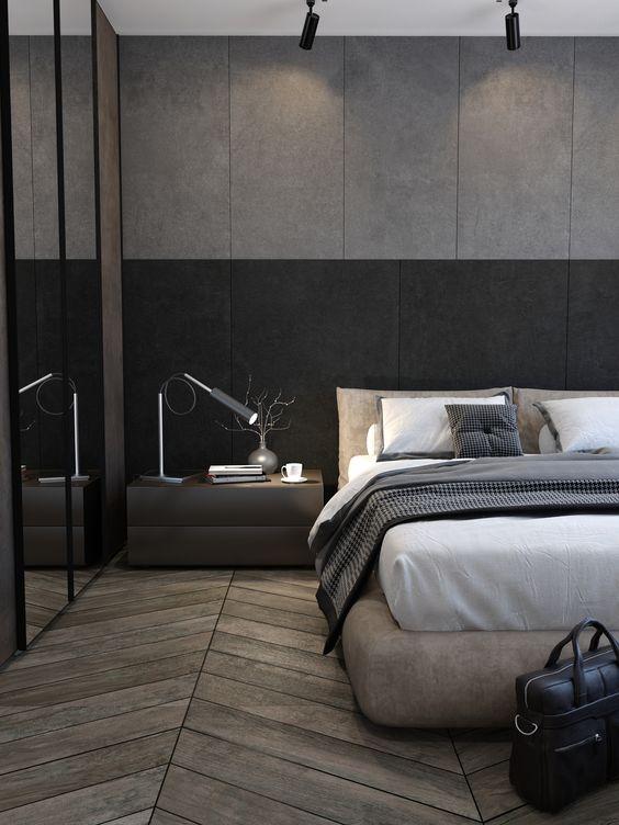 geometric wood masculine bedroom
