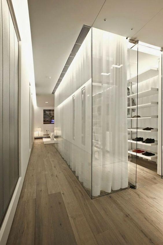 glass walk-in wardrobe design idea