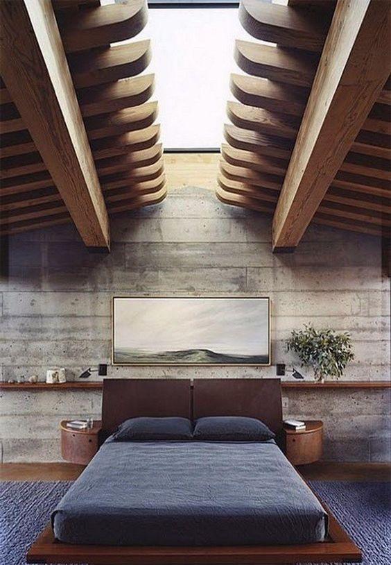 Warm masculine bedroom flooring