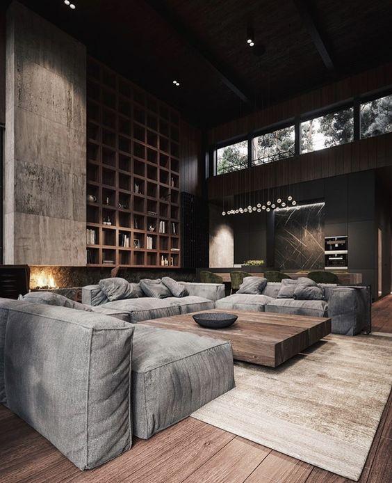 gray cushion for masculine living room decor