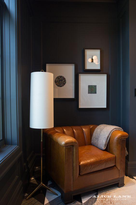 sleek furniture accent in masculine bedroom decor