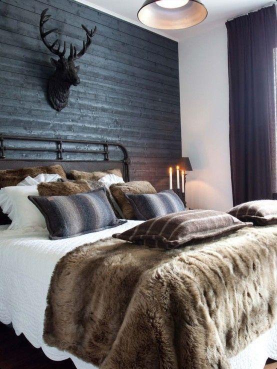 mouted deer bust in masculine bedroom decoration