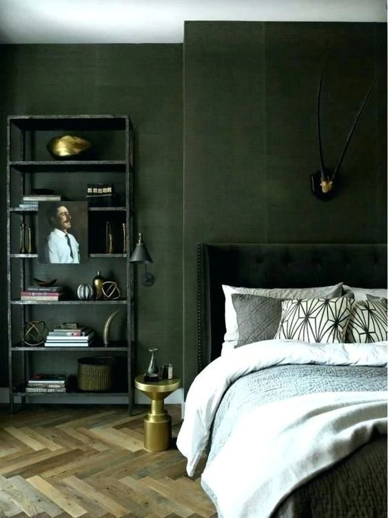 olive green masculine bedroom color
