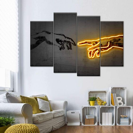 quirky panel canvas in masculine living room decor