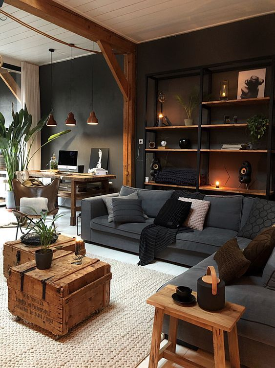 rustic coffee table in masculine living room decor