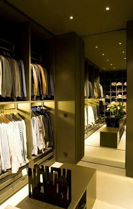 sleek masculine walk-in-wardrobe design