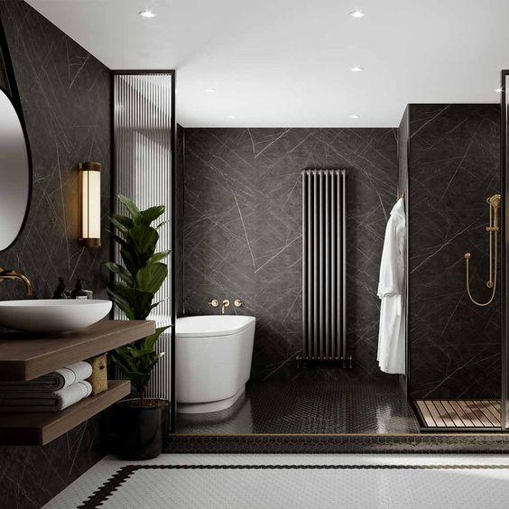 stylish and spacious men's bathroom design