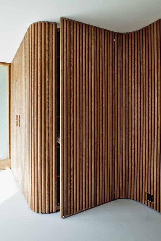 timber panel accent stylish walk-in wardrobe