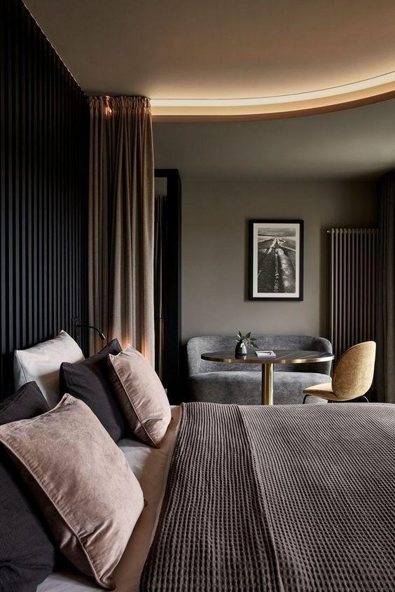 elegant bachelor pad decor with timber wall panel