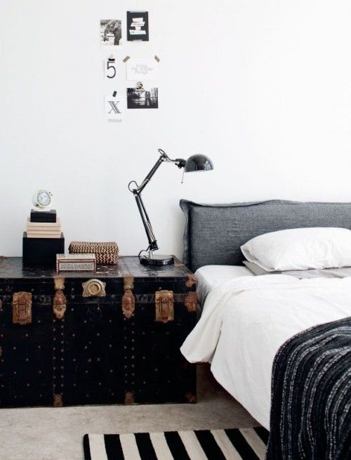 vintage trunk coffee table masculine bedroom decoration