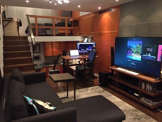 warm bachelor pad studio apartment idea