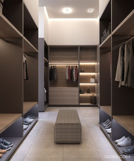 classy manly walk-in wardrobe design
