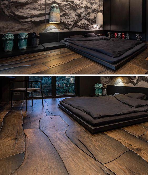 dark wood flooring style manly bedroom style